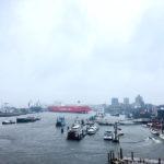 Uitzicht over de haven van Hamburg vanaf de Elphilharmonie