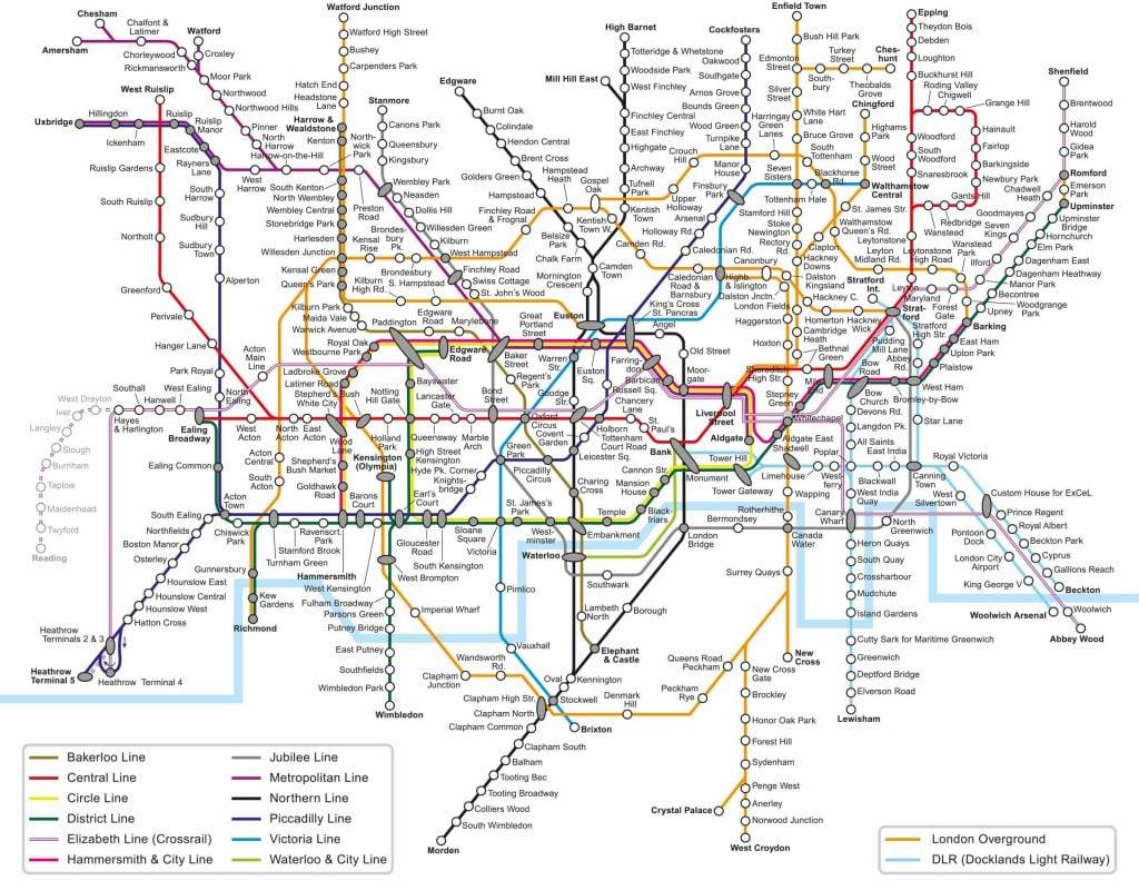 Londen metro kaart